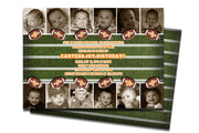 Photo Keepsake Football 1st Birthday Invitations 12 month
