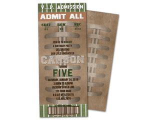 Vintage Football Birthday Admission Ticket Invitation