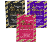 Ms FOURtastic Invitations Girl 4th Birthday
