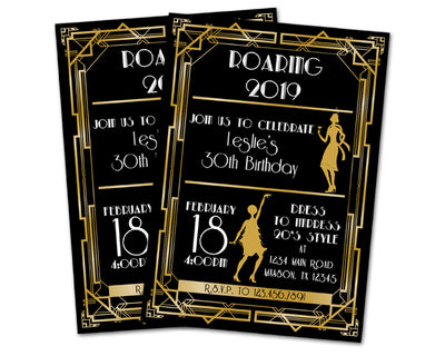 Gatsby Birthday Invitations Charleston 1920 Party