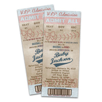 Baseball Gender Reveal Baby Shower Invitations Ticket