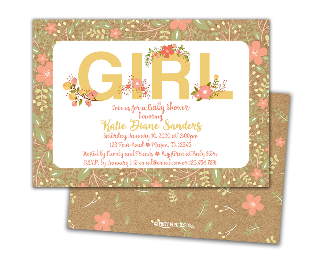 Rustic Kraft Girl Baby Shower Invitations