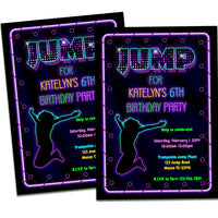 Girls Jump Trampoline Birthday Invitations