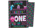 Girl Monster Birthday Invitations