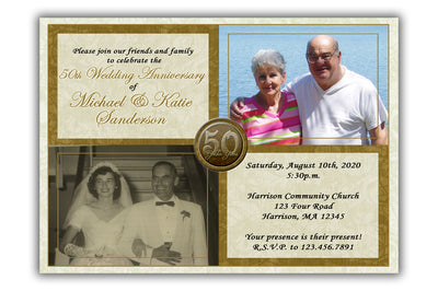 Then & Now Photo 50th Wedding Anniversary Invitations