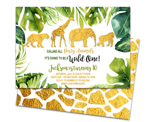 Gold Safari Birthday Invitations