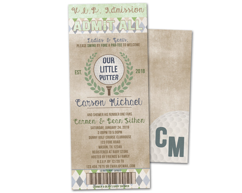 Golf Baby Shower Invitations Boy Ticket Putter Caddy Vintage