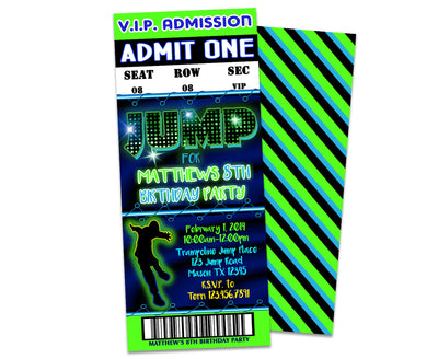 Boys Jump Birthday Party Ticket Invitations
