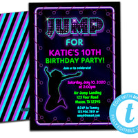 DIY Neon JUMP Girls Invitations - FREE DEMO