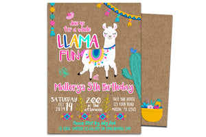 Llama Birthday Invitation Girl Pink Kraft