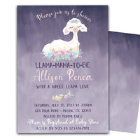 Purple Llama Baby Shower Invitations Floral Girl