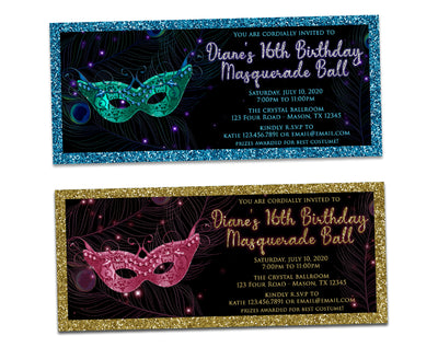 Peacock Masquerade Mask Invitations Sweet 16