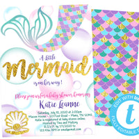 DIY Mermaid Baby Shower Invitations - FREE DEMO