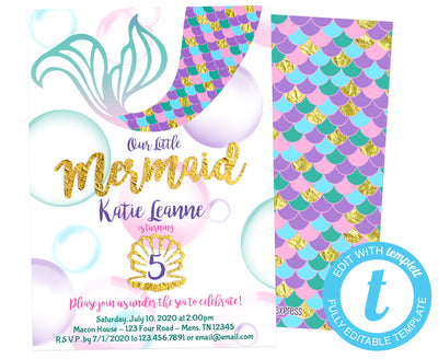 DIY Mermaid Birthday Invitations - FREE DEMO