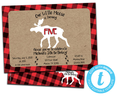 DIY Little Moose Birthday Invitations - FREE DEMO