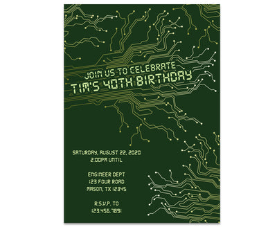 Motherboard Circuitboard Adult Birthday Invitations