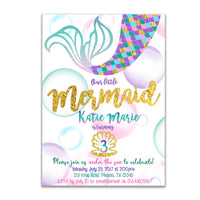 Mermaid Birthday Invitations Girl Purple Gold