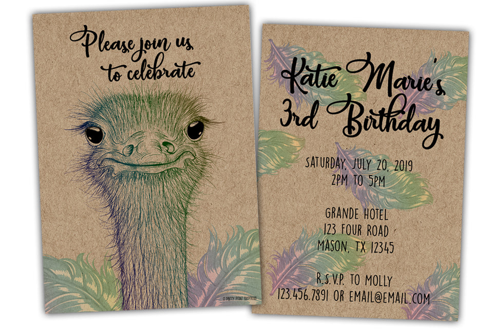 Ostrich Invitations Birthday Baby Girl Rainbow Kraft