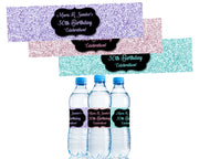 Pastel Glitter Water Bottle Labels