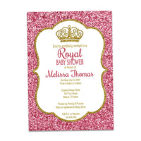 Gold & Pink Glitter Princess Baby Shower Invitations