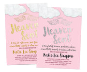 Pink Heaven Sent Baby Shower Invitations
