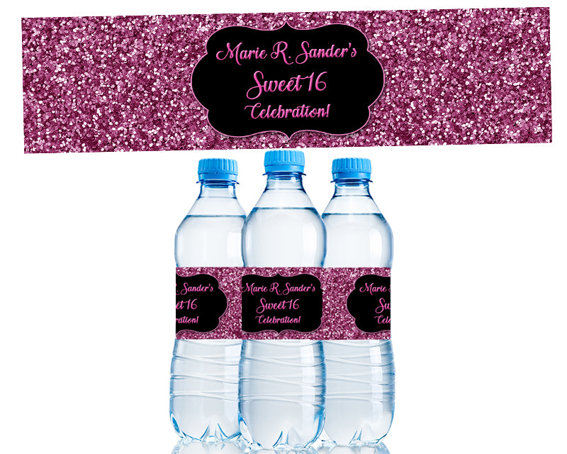 Pink Glitter Sweet 16 Water Bottle Labels
