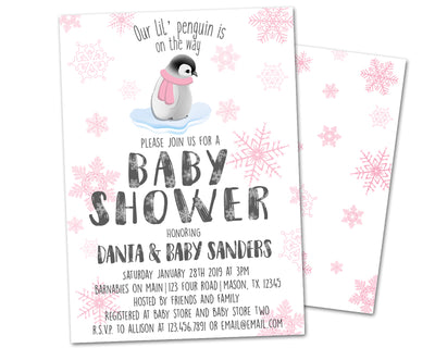 Pink Penguin Baby Shower Invitations Winter Girl
