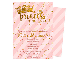 Pink and Gold Princess Baby Shower Invitation