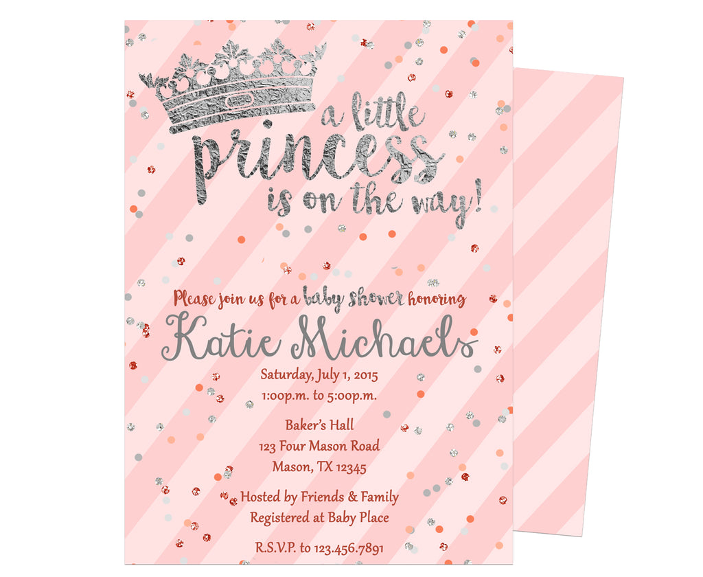 Pink & Silver Princess Baby Shower Invitation