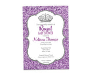 Silver & Purple Glitter Princess Baby Shower Invitation