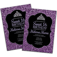 DIY Purple Glitter Sweet 16 Invitations - FREE DEMO