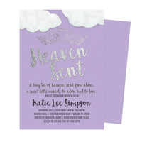 Angel Purple Heaven Sent Baby Shower Invitations