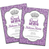 DIY Purple and Silver Glitter Baby Shower Invitations - FREE DEMO