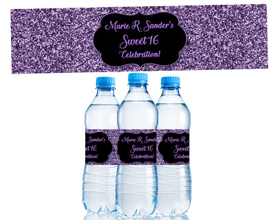 Purple Glitter Sweet 16 Water Bottle Labels