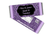Purple Glitter Sweet 16 Candy Bar Wrappers