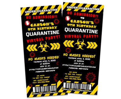Quarantine Virtual Birthday Party Ticket Invitations