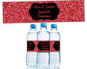 Red Glitter Sweet 16 Water Bottle Labels