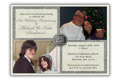 25th Wedding Anniversary Invitations Then and Now Photo