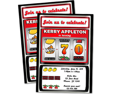 Slot Machine Birthday Invitations Adult