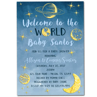 Outer Space Baby Shower Invitations Boy