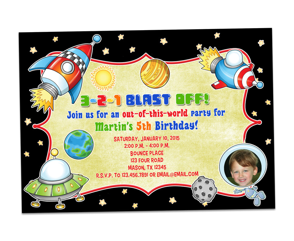 outer space astronaut birthday invitations