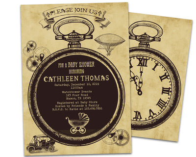 Steampunk Baby Shower Invitations