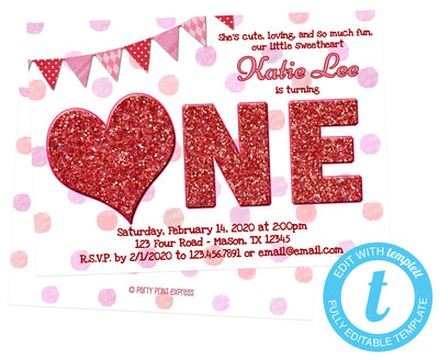 DIY Sweetheart 1st Birthday Invitations - FREE DEMO