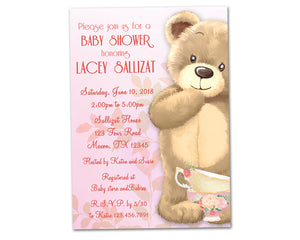 Teddy Bear Tea Party Baby Shower Invitations
