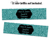 Turquoise Glitter Sweet 16 Water Bottle Labels