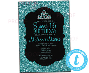 DIY Turquoise Glitter Sweet 16 Invitations - FREE DEMO