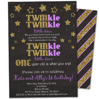 Twins Twinkle Little Star Birthday Invitations Purple Gold