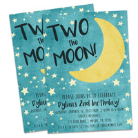 TWO the Moon Birthday Invitations