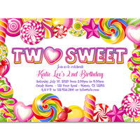 TWO Sweet 2nd Birthday Girl Invitations
