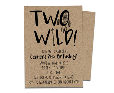 TWO Wild 2nd Birthday Invitations Kraft